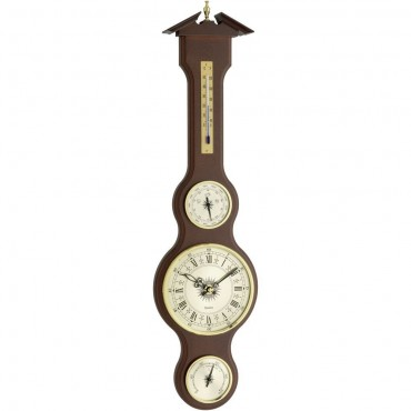 Mahogany Banjo Barometer With Clock 60cm