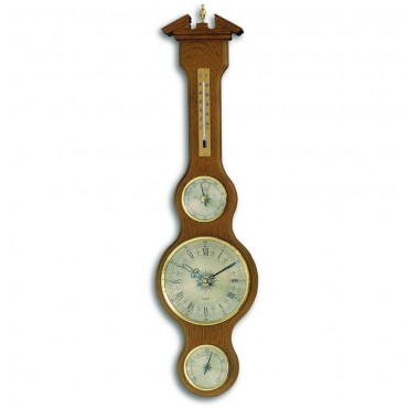 Oak Banjo Barometer With Clock 60cm