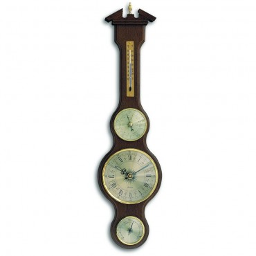 Walnut Banjo Barometer With Clock 60cm