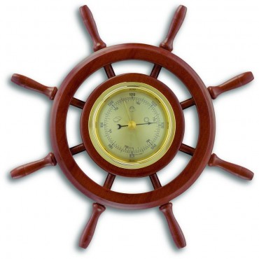 Ships Wheel Walnut Barometer 29cm