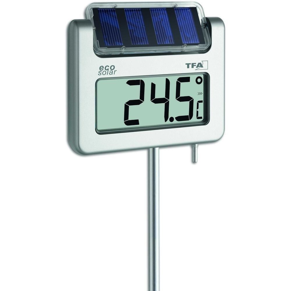 Digital solar garden spike thermometer with solar light 114cm for Thermometres exterieurs